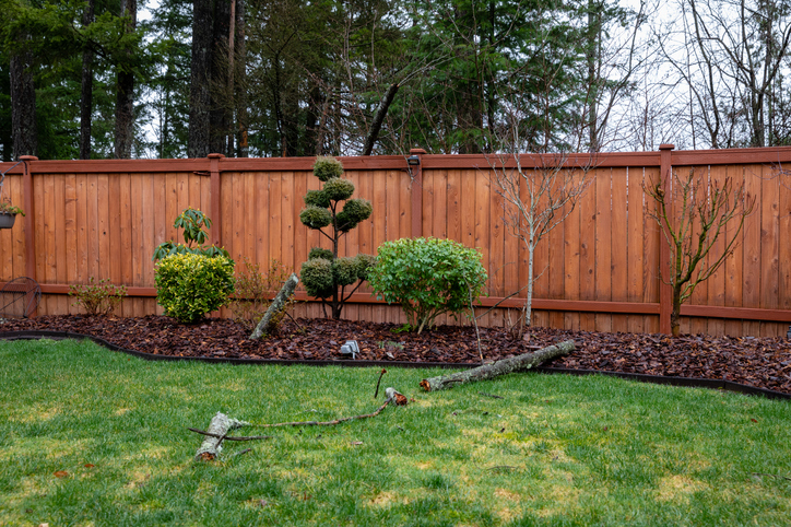 redwood fence installed in the backyard of a client in pittsburgh